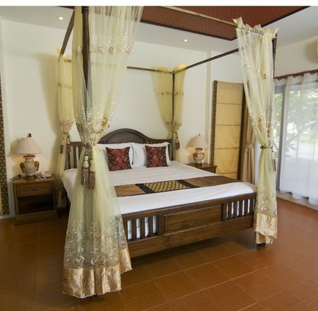 bedspread: Thai style resort bedroom