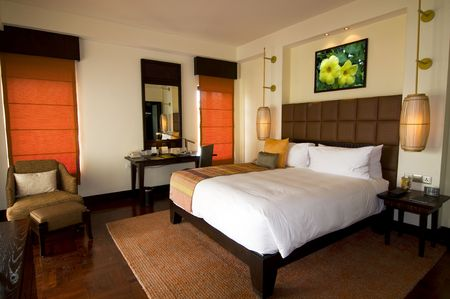 Oriental style hotel room at spa resort photo