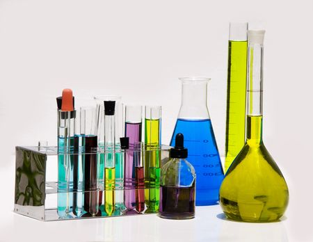 laboratory equipment: collection of Laboratory Equipment including beakers and flasks Stock Photo