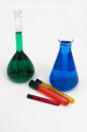 test tube holder: collection of Laboratory Equipment including beakers and flasks Stock Photo