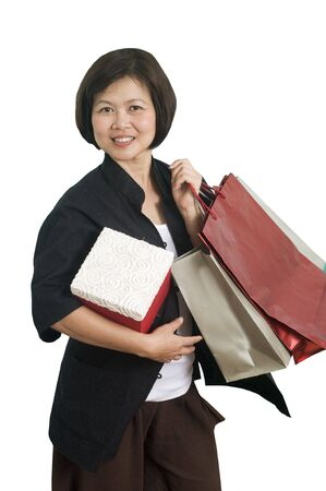 Asian woman with shopping bags