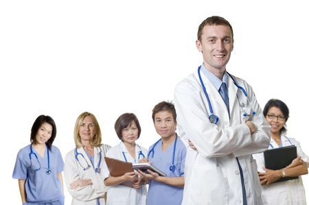 Doctor and Nurse standing with white background photo