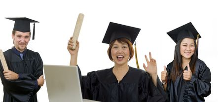 Mature woman with graduation cap and gown  photo