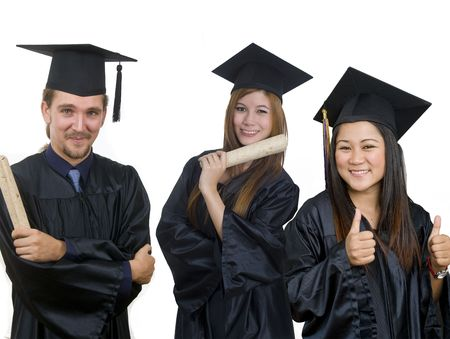 Young woman with graduation cap and gown  photo