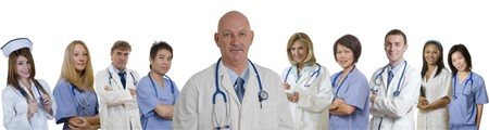 Doctor and Nurse and Interns standing with white background Stock Photo