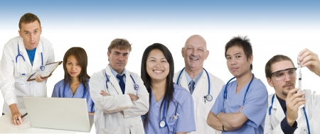 Group of Doctors and Nurses standing with white background to be used as banner photo