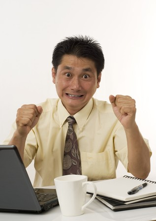 Asian businessman stressed out and frustrated Stock Photo - 7487527