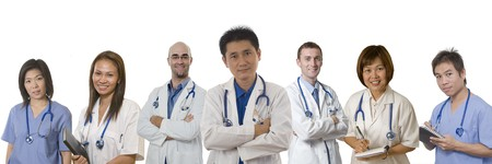 Doctors and Nurses standing with white background Stock Photo