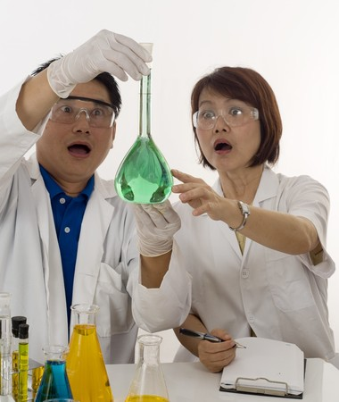 Two scientists surprised at their experiment
