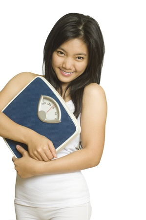 Attractive young Asian girl with weight scale Stock Photo - 8896207