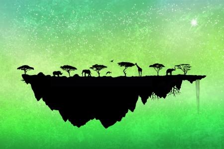 TERMINÉ// Parfois le soleil fait des dégâts sur les neurones [Karine] - Page 2 16527947-silhouette-safari-ile-flottante-avec-des-arbres-et-des-animaux