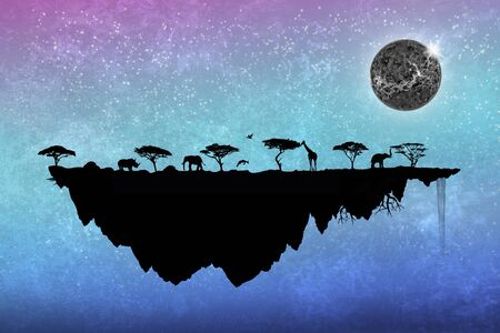 silhouette safari floating island with trees and animals photo