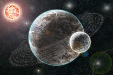 New Planetary System, Abstract cosmic background with planets and stars photo