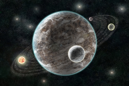 cosmology: New Planetary System, Abstract cosmic background with planets and stars