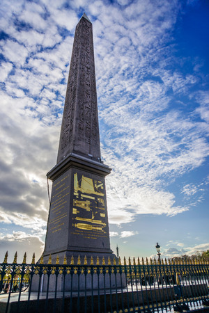 Egyptian Luxor obelisk in Pariswith hieroglyphics on Place de la Concorde in Paris.