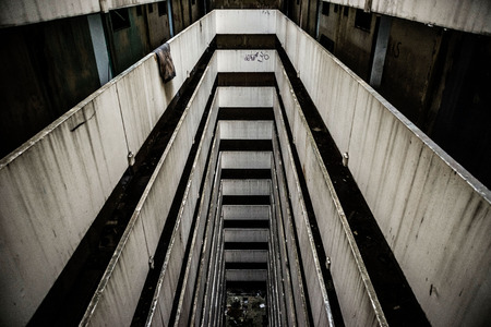 staircases: Staircases in an abandoned. Twenty Storeys High Abandoned Buidling in Malaysia.