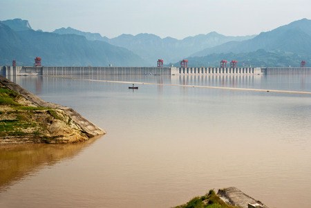 three gorges: Three Gorges Dam at Yangtze River in China