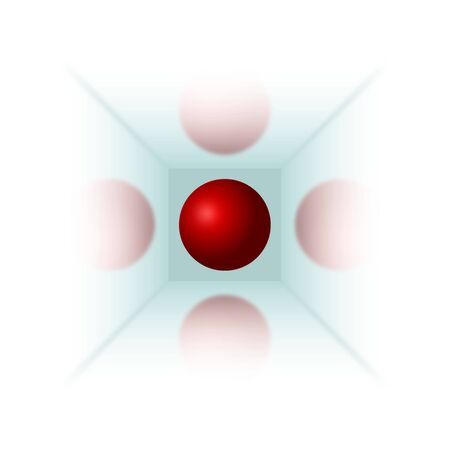 Red ball in mirror cube with reflections Vector