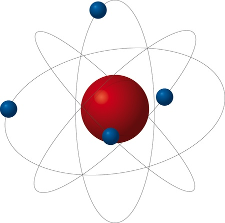 Atom, red proton and four bluelectrons Illustration