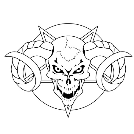 Skull with horns and pentagram