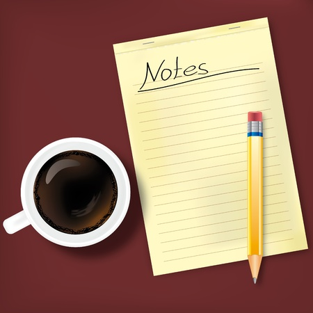Notes with coffee