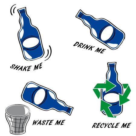 Set of bottle icons