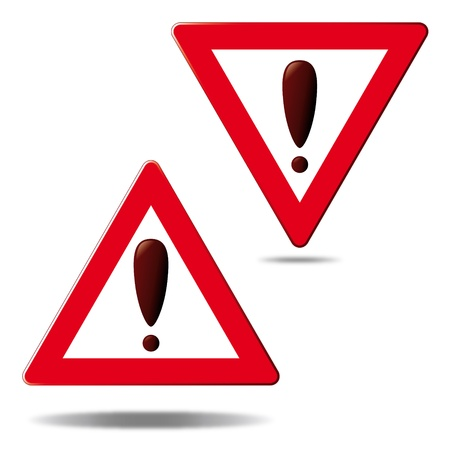 Warning, exclamation mark in triangle Illustration