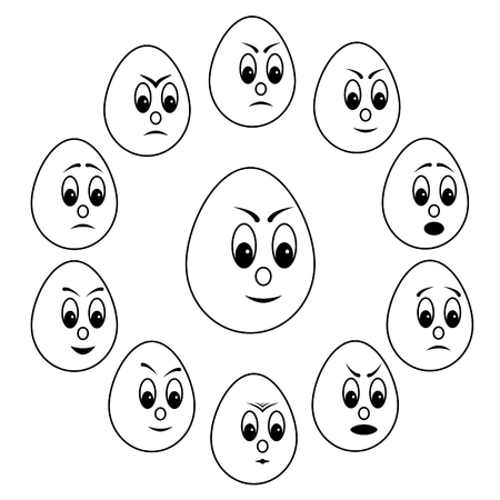 Egg emoticon, mood expression, happy and unhappy face