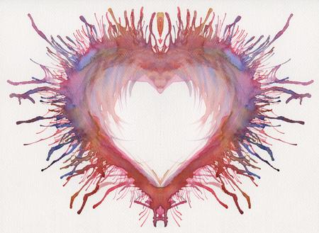 colorful watercolor painted heart Foto de archivo