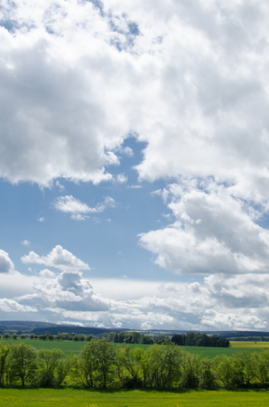 lanscape: Blue sky and green lanscape, day, focus