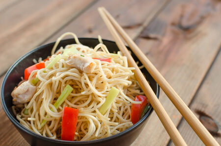 egg noodles: Chinese noodles, fast but delicious food with chopsticks