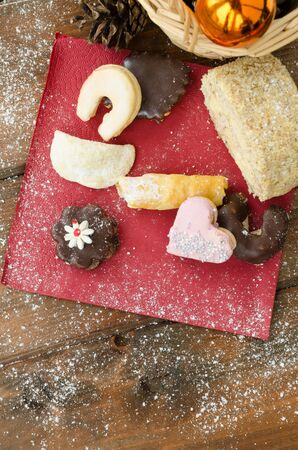 Christmas candy with pinecone in punnet with  photo