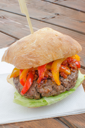 italien: Italien burger with three kind of paprika and chilli