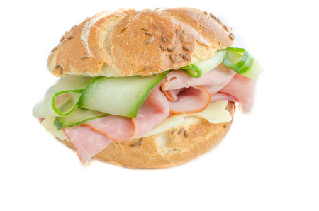 sandwitch: Sandwitch with prag ham, cucumber and swiss cheese Stock Photo