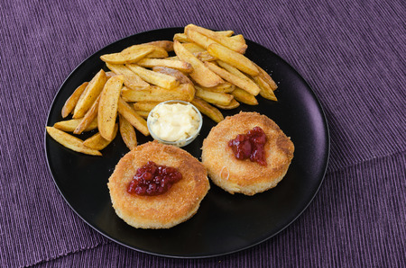 fresh food fish cake: Fried cheese with home made french fries and mayonnaise Stock Photo