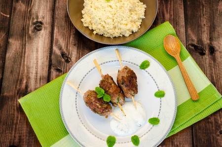seekh: Beef kebab with coriander, garlic, couscous and mint dip Stock Photo