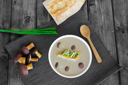 Mushroom cream soup with toast and fresh herbs on wood table photo