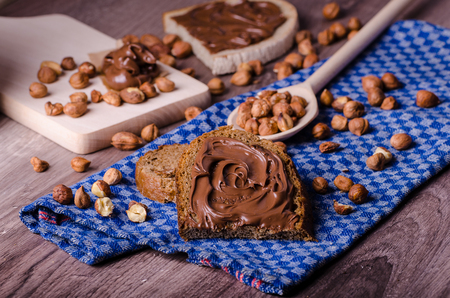 Healthy bread with Chocolate spread and nuts, all homemade photo