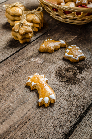 Homemade gingerbread, preparation for Christmas holidays photo