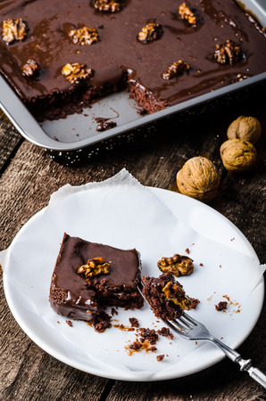 Chocolate cake with roasted nuts, time for sweet! photo