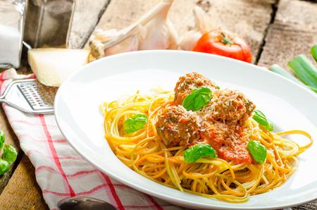 New York meatballs pasta, tomato sauce, all bio food from garden photo