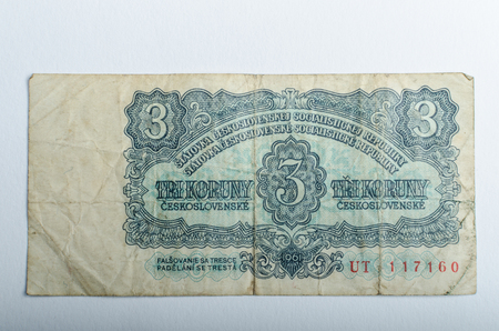 Old Czech banknotes, money background, all real money