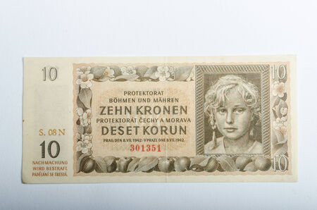 protectorate: Old Czech banknotes, money background, Protectorate of Bohemia and Moravia Editorial