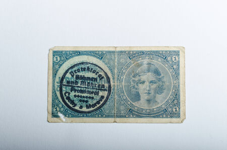 Old Czech banknotes, money background, Protectorate of Bohemia and Moravia