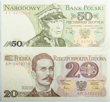levi: Old Polish banknotes money background, all real money Editorial