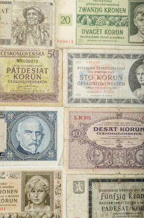levi: Old Czech banknotes, money background, all real money
