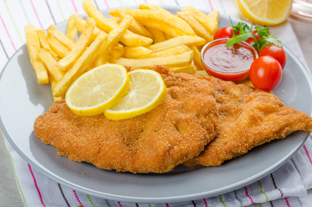 Schnitzel with french fries and a spicy dip, fresh from red orange