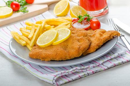 Schnitzel met patat en een pittige dip, vers van rood oranje