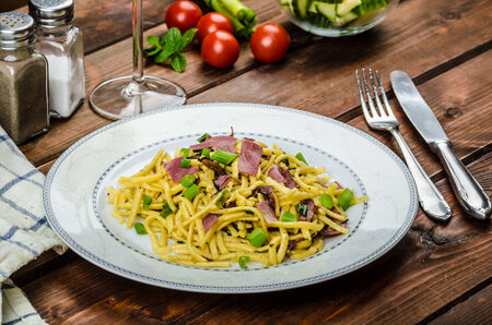 Homemade with roasted Black Forest ham - schwarzwald ham and spring onion photo
