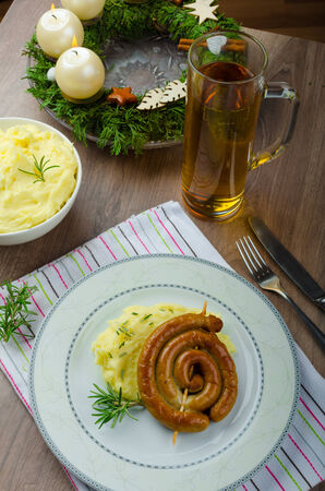 Christmas fried wine sausage thyme mashed potatoes photo